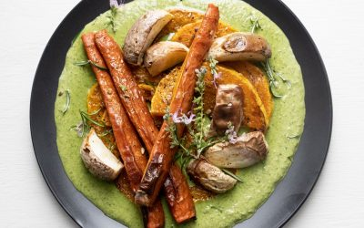 Herb Yogurt Sauce & Baked Root Veggies